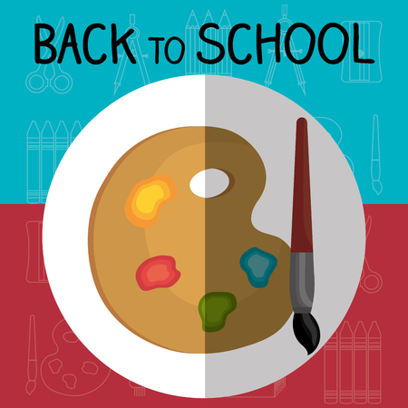 back to school label with pallette colors vector illustration