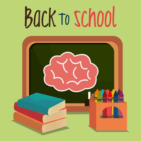 back to school label with chalkboard vector illustration design