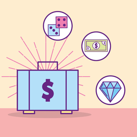 money suitcase dices banknote diamond treasure vector illustration cartoon