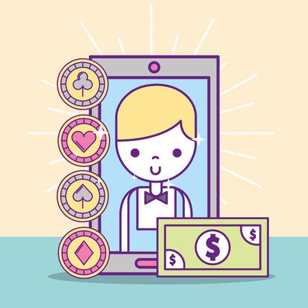 casino croupier male smartphone banknote application online vector illustration Illustration