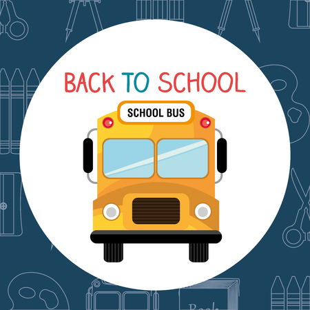 back to school label with bus vector illustration design