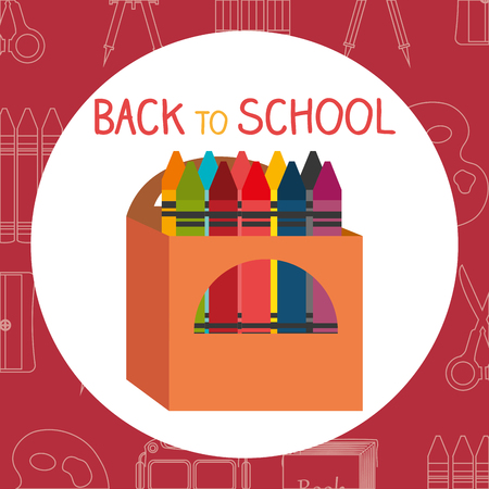 back to school label with colors crayons vector illustration design Illusztráció