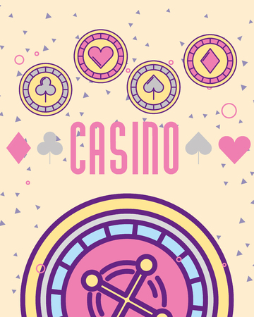 casino roulete machine chips aces vector illustration Illustration