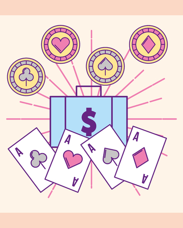 casino money suitcase aces cards chips gamble vector illustration Çizim