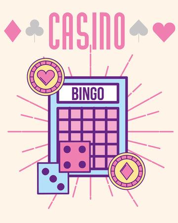 casino bingo dices and chips vector illustration Vector Illustration
