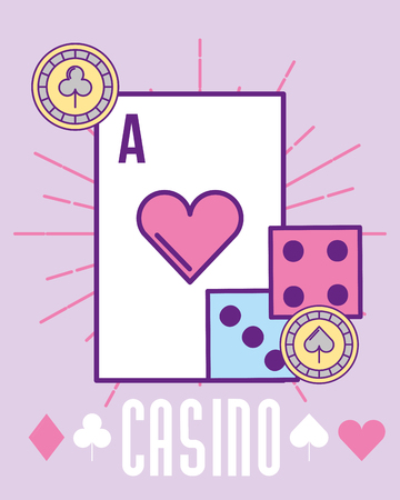 casino heart ace card dices and chip cartoon vector illustration