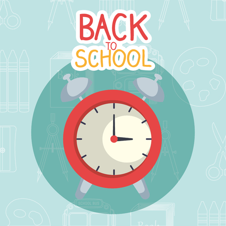 back to school label with alarm clock vector illustration design
