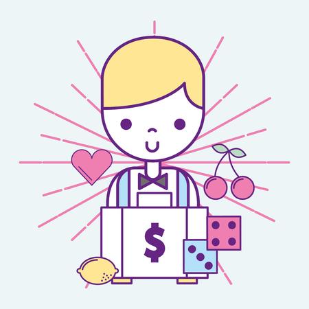 casino croupier male money suitcase dices game vector illustration Illustration
