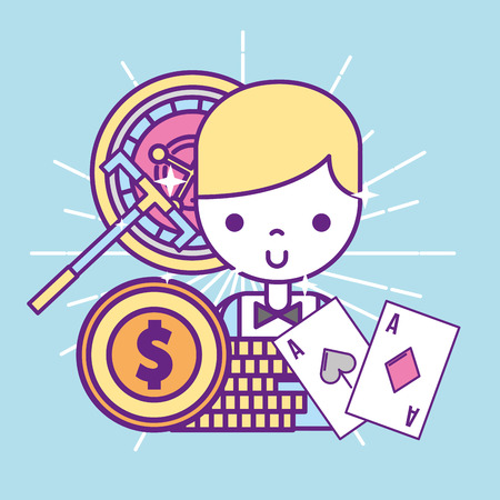 casino croupier male stack dollar coins cards and roulette vector illustration Ilustracja