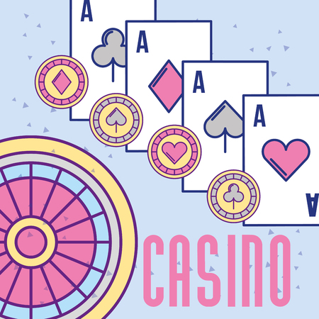 casino roulette aces poker cards and chips vector illustration