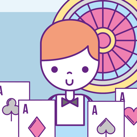 casino croupier male poker aces cards roulette vector illustration