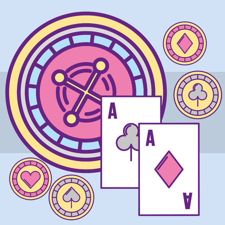 casino roulette machine aces poker cards chips vector illustration