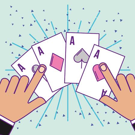 hands with poker aces cards cartoon casino vector illustration Foto de archivo - 111986203