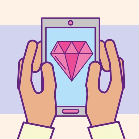 mano sujetando smartphone diamante aplicación casino vector ilustración caricatura Ilustración de vector