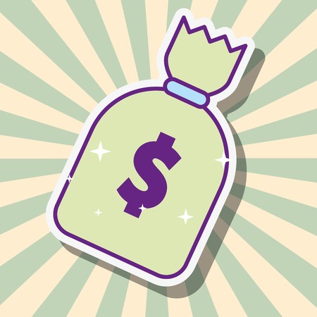 money bag dollar cash fortune vector illustration