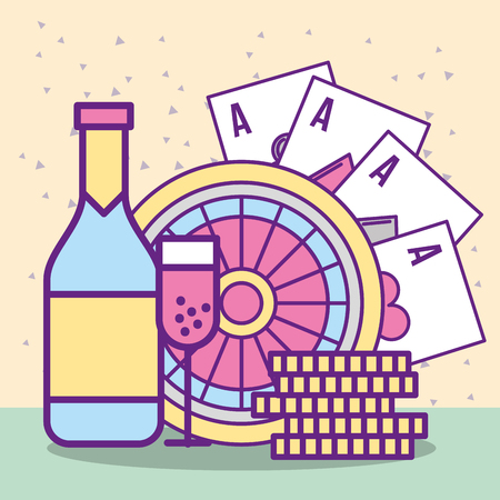 casino roulette cards aces coin bottle champagne glass cup vector illustration Illustration