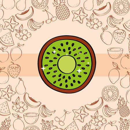 kiwi fruits nutrition background pattern drawing color vector illustration
