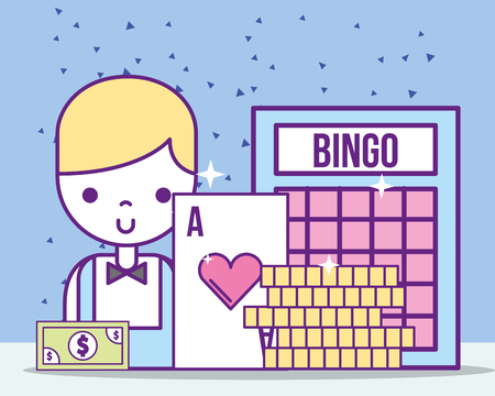 casino croupier male ace card bill bingo coins vector illustration Stock fotó - 106459770