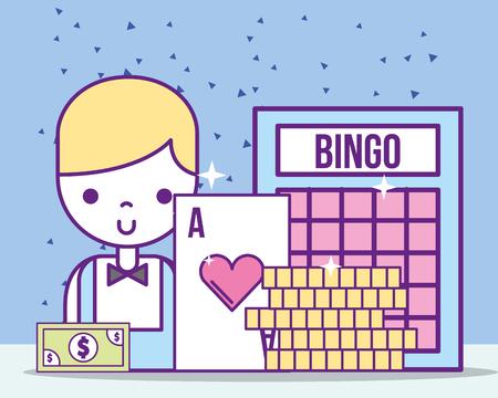 Casino croupier masculino ace card bill bingo monedas ilustración vectorial Ilustración de vector