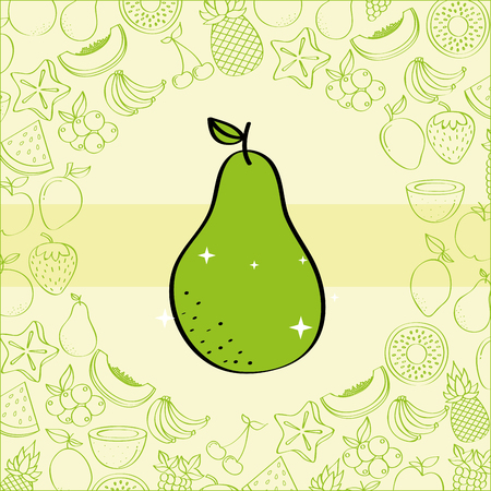 pear fruits nutrition background pattern vector illustration Banque d'images - 111986226