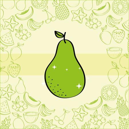 pear fruits nutrition background pattern vector illustration Illustration