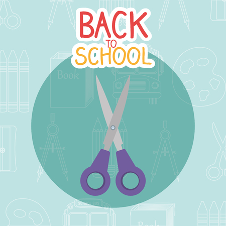 back to school label with scissors vector illustration design