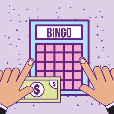 hands with bingo game and bill money casino vector illustration Illustration