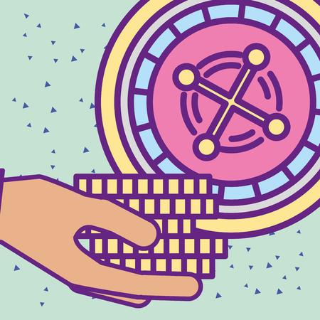 ręka trzyma żetony w kasynie z kreskówki ilustracji wektorowych ruletka
