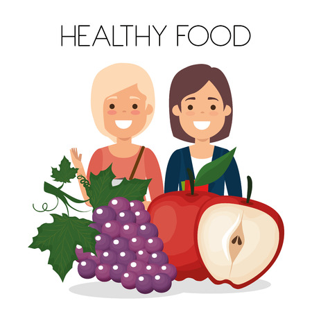 young women with fruits healthy food vector illustration design Banque d'images - 111986233