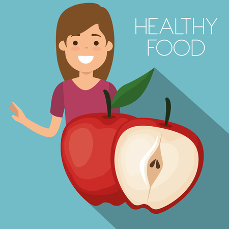 young woman with apple healthy food vector illustration design Banque d'images - 111986236