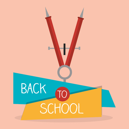 back tom school label with compass vector illustration design
