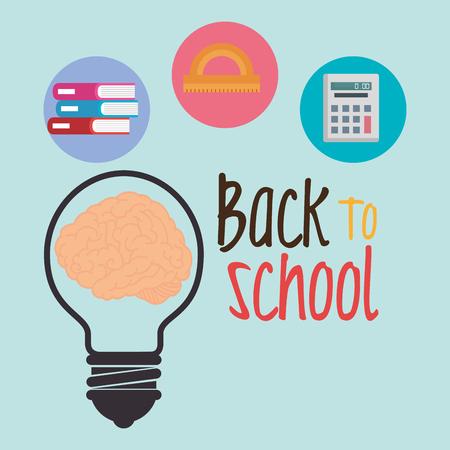 back to school label with brain storming vector illustration design Vettoriali