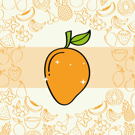 mango fruits nutrition background pattern vector illustration