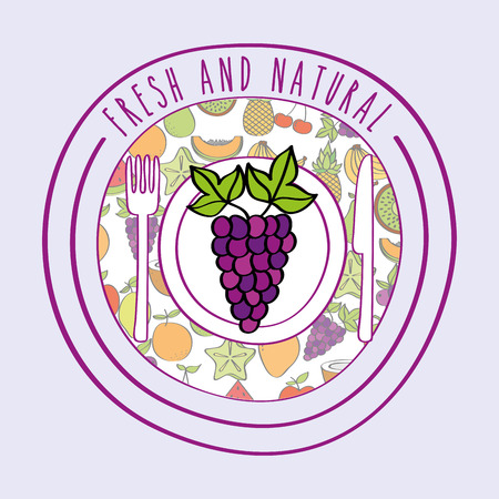 grapes fresh and natural fruits food label vector illustration Standard-Bild - 111986242
