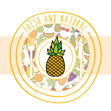 pineapple fresh and natural fruits food label vector illustration