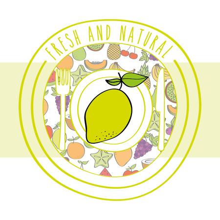 lemon fresh and natural fruits food label vector illustration Çizim