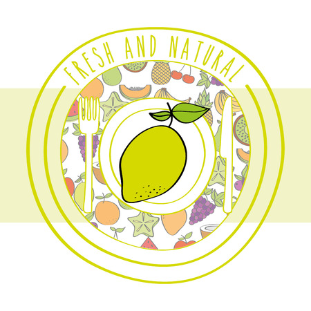 lemon fresh and natural fruits food label vector illustration Фото со стока - 106448089