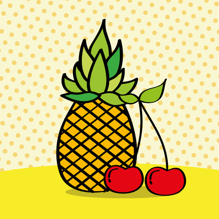 fresh pineapple and cherries on dotted background vector illustration Banque d'images - 106448660