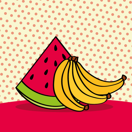 fresh watermelon and bananas on dotted background vector illustration Ilustracja