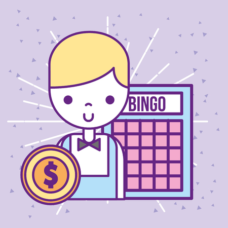Casino Croupier männliches Bingo Spiel Dollar Münze Vektor-Illustration