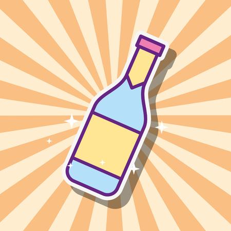 bottle champagne drink beverage retro style vector illustration Illustration