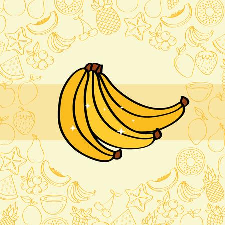 bananas fruits nutrition background pattern vector illustration