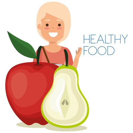 young woman with fruits healthy food vector illustration design Banque d'images - 106459808