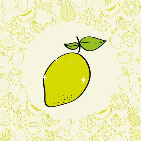 lemon fruits nutrition background pattern vector illustration