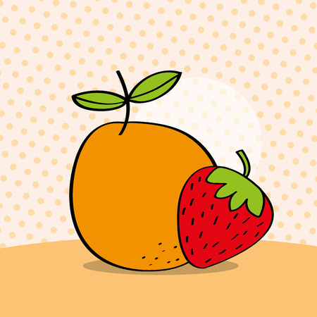 fresh orange and strawberry on dotted background vector illustration