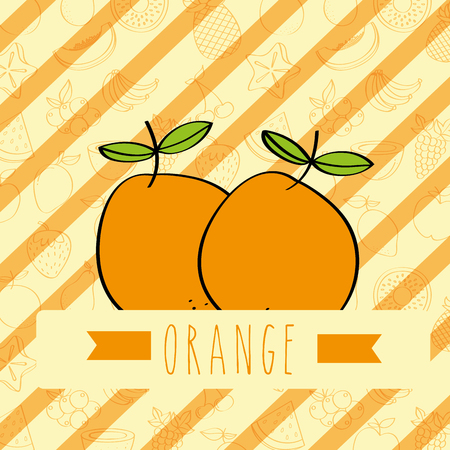 striped background with delicious fresh orange vector illustration