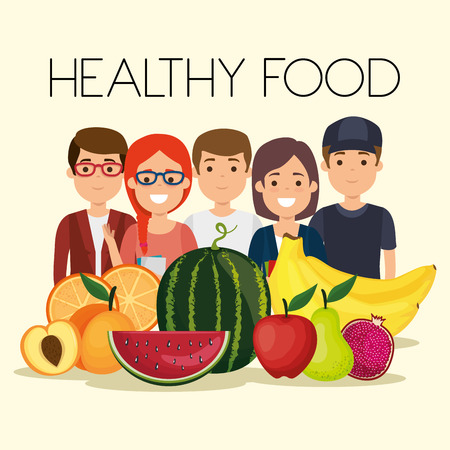 young people with fruits healthy food vector illustration design Banque d'images - 111986293