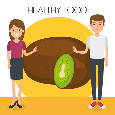 young couple with kiwi healthy food vector illustration design Illustration