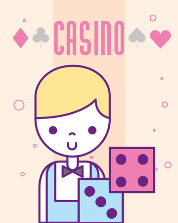 casino croupier craps luck game cartoon vector illustration