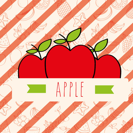 striped background with delicious fresh apple vector illustration